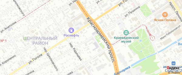 Улица Пушкина на карте Барнаула с номерами домов