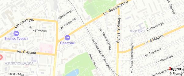 Улица Парижской Коммуны на карте Барнаула с номерами домов