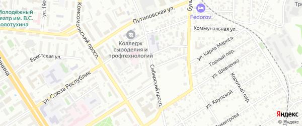 Сибирский проспект на карте Барнаула с номерами домов