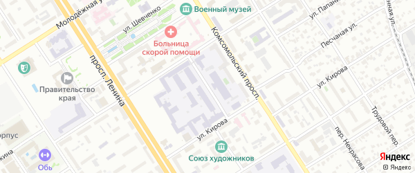 Политехнический проезд на карте Барнаула с номерами домов