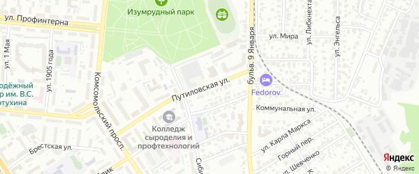 Путиловская улица на карте Барнаула с номерами домов