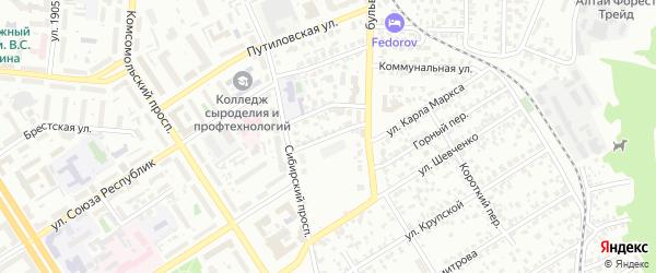 Культурная улица на карте Барнаула с номерами домов
