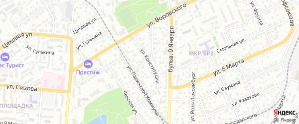 Улица Конституции на карте Барнаула с номерами домов