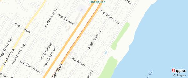 Гвардейская улица на карте Барнаула с номерами домов
