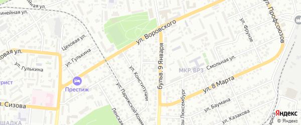 Красносельская улица на карте Барнаула с номерами домов