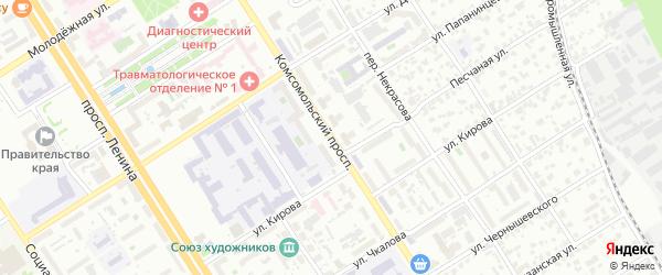 Комсомольский проспект на карте Барнаула с номерами домов