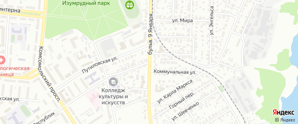 Садгородская улица на карте Барнаула с номерами домов