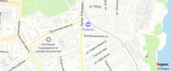 Коммунальная улица на карте Барнаула с номерами домов
