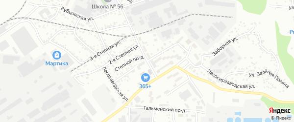 Степная 1-я улица на карте Барнаула с номерами домов