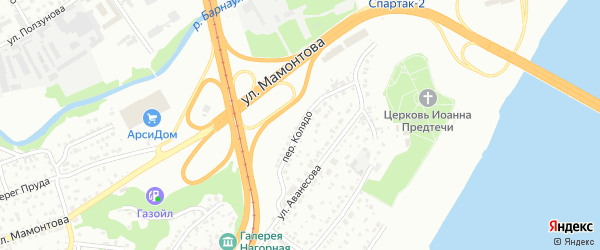Переулок Колядо на карте Барнаула с номерами домов