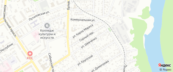 Горный переулок на карте Барнаула с номерами домов