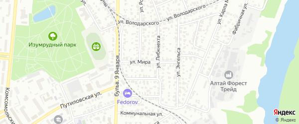 Улица Мира на карте Барнаула с номерами домов