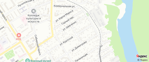 Короткий переулок на карте Барнаула с номерами домов