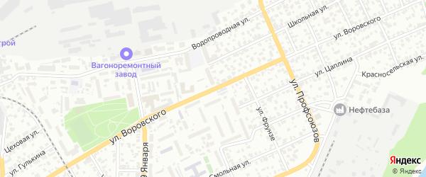 Улица Воровского на карте Барнаула с номерами домов