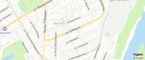 Улица 8 Марта на карте Барнаула с номерами домов