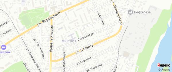 Смольная улица на карте Барнаула с номерами домов