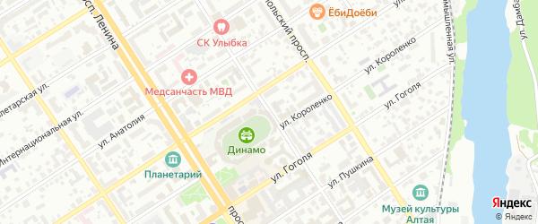 Улица Максима Горького на карте Барнаула с номерами домов