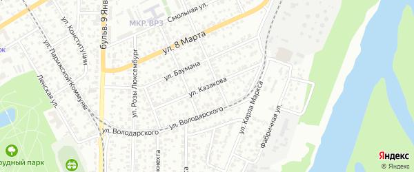 Улица Казакова на карте Барнаула с номерами домов