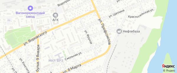 Улица Фрунзе на карте Барнаула с номерами домов