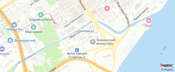 Знаменский переулок на карте Барнаула с номерами домов