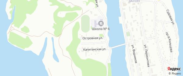Островная улица на карте Барнаула с номерами домов