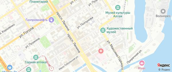 Улица Льва Толстого на карте Барнаула с номерами домов