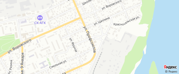 Улица Профсоюзов на карте Барнаула с номерами домов