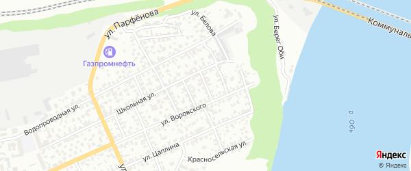 Амурский 3-й переулок на карте Барнаула с номерами домов