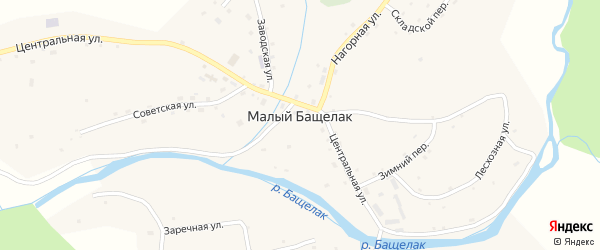 Береговая улица на карте села Малого Бащелака с номерами домов