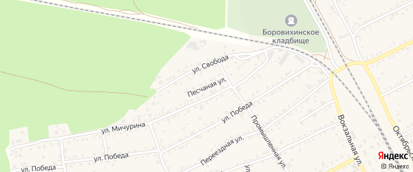 Песчаная улица на карте села Боровихи с номерами домов
