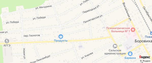Комсомольский переулок на карте села Боровихи с номерами домов
