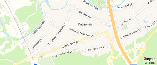 Красноармейская улица на карте Казачьего поселка с номерами домов