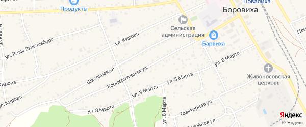 Кооперативная улица на карте села Боровихи с номерами домов