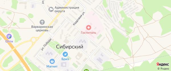 Кедровая улица на карте ЗАТА Сибирского поселка с номерами домов