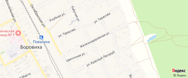 Железнодорожная улица на карте села Боровихи с номерами домов