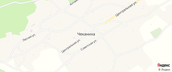 Школьная улица на карте села Чеканихи с номерами домов