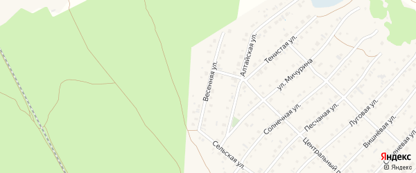 Весенняя улица на карте села Зудилово с номерами домов