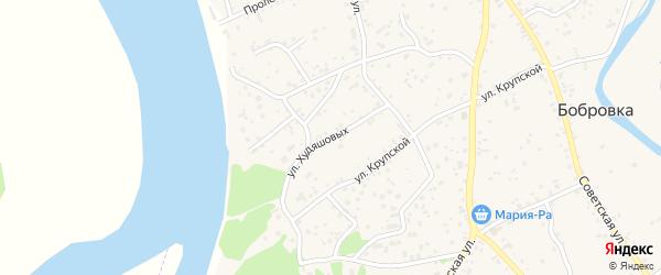 Улица Худяшовых на карте села Бобровки с номерами домов