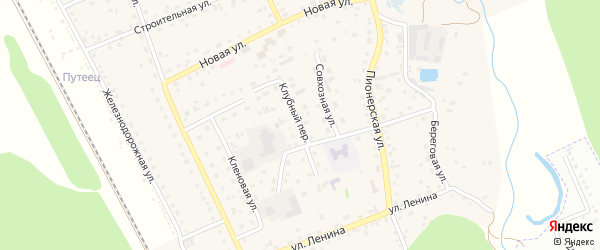Клубный переулок на карте села Зудилово с номерами домов