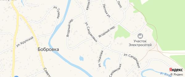 Ягодный переулок на карте села Бобровки с номерами домов