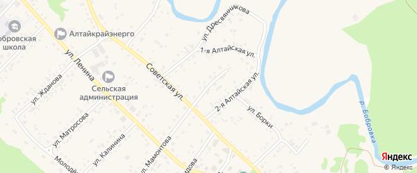 Солнечный переулок на карте села Бобровки с номерами домов