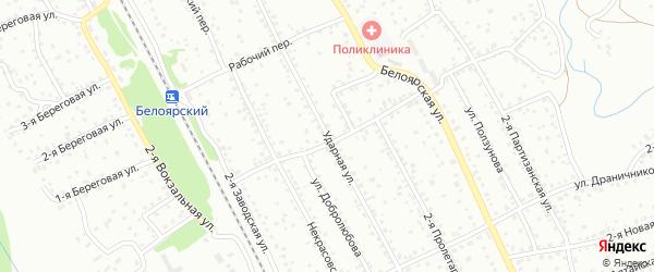 Ударная улица на карте Новоалтайска с номерами домов