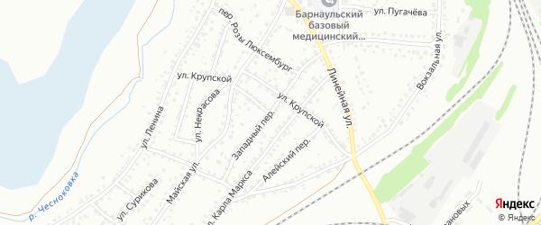 Западный переулок на карте Новоалтайска с номерами домов