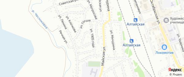 Улица 1905 года на карте Новоалтайска с номерами домов