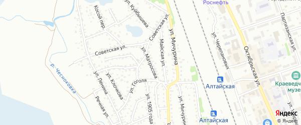 Улица Матросова на карте Новоалтайска с номерами домов