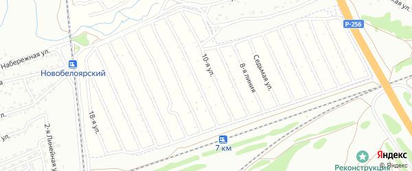 9-я улица на карте Юбилейного садового некоммерческого товарищества с номерами домов