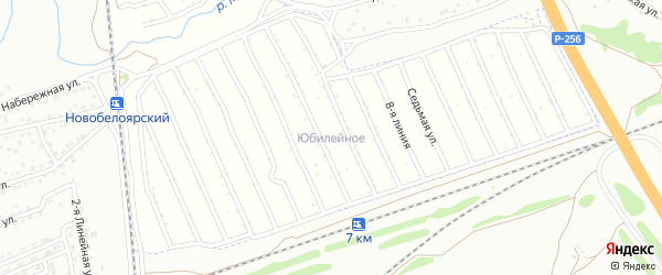 7-я улица на карте Юбилейного садового некоммерческого товарищества с номерами домов