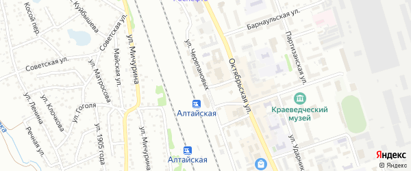 Улица Казарма 213 км на карте Новоалтайска с номерами домов