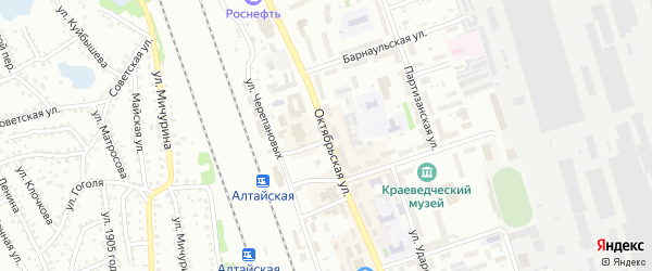 Октябрьская улица на карте Новоалтайска с номерами домов