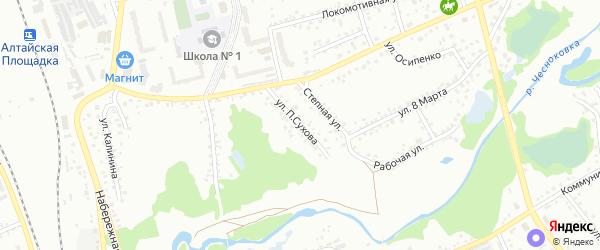 Улица П.Сухова на карте Новоалтайска с номерами домов